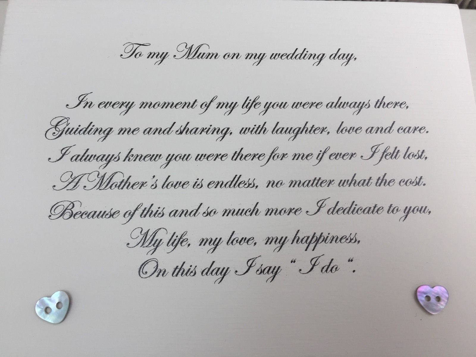 Wedding Day Letter To Bride.Shabby Personalised Chic Mother Of The Bride Wedding Day
